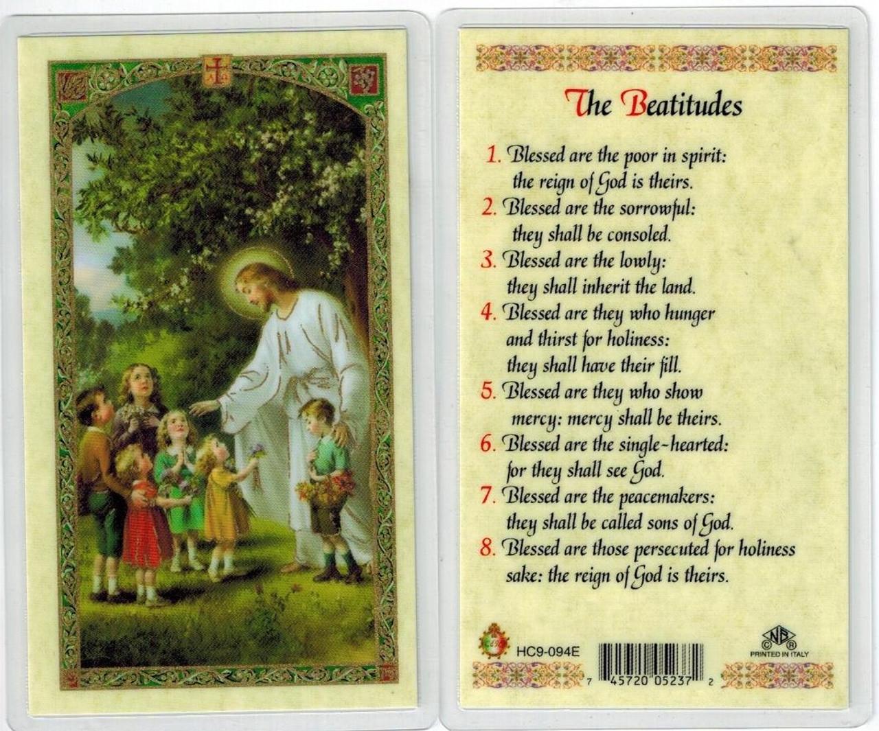 Jesus w/ children Beatitudes, Laminated prayer card