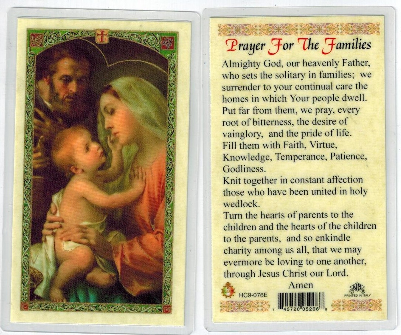 A Prayer for Families, with Holy Family. Laminated prayer card