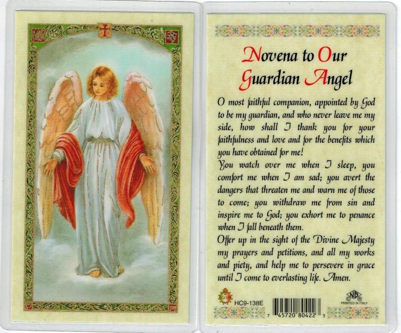 prayer to your Guardian Angel, Laminated prayer card