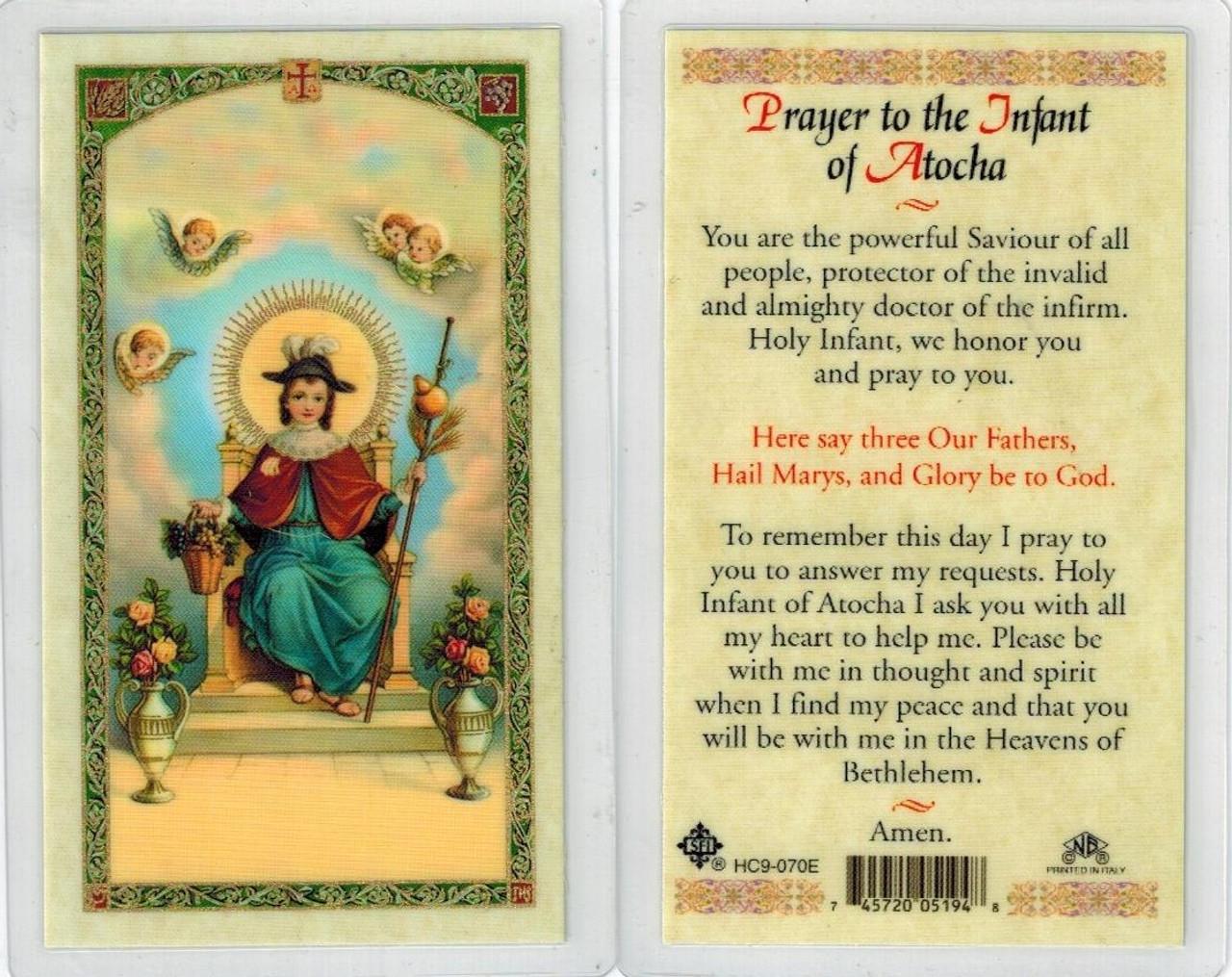 Infant of Atocha, Laminated prayer card