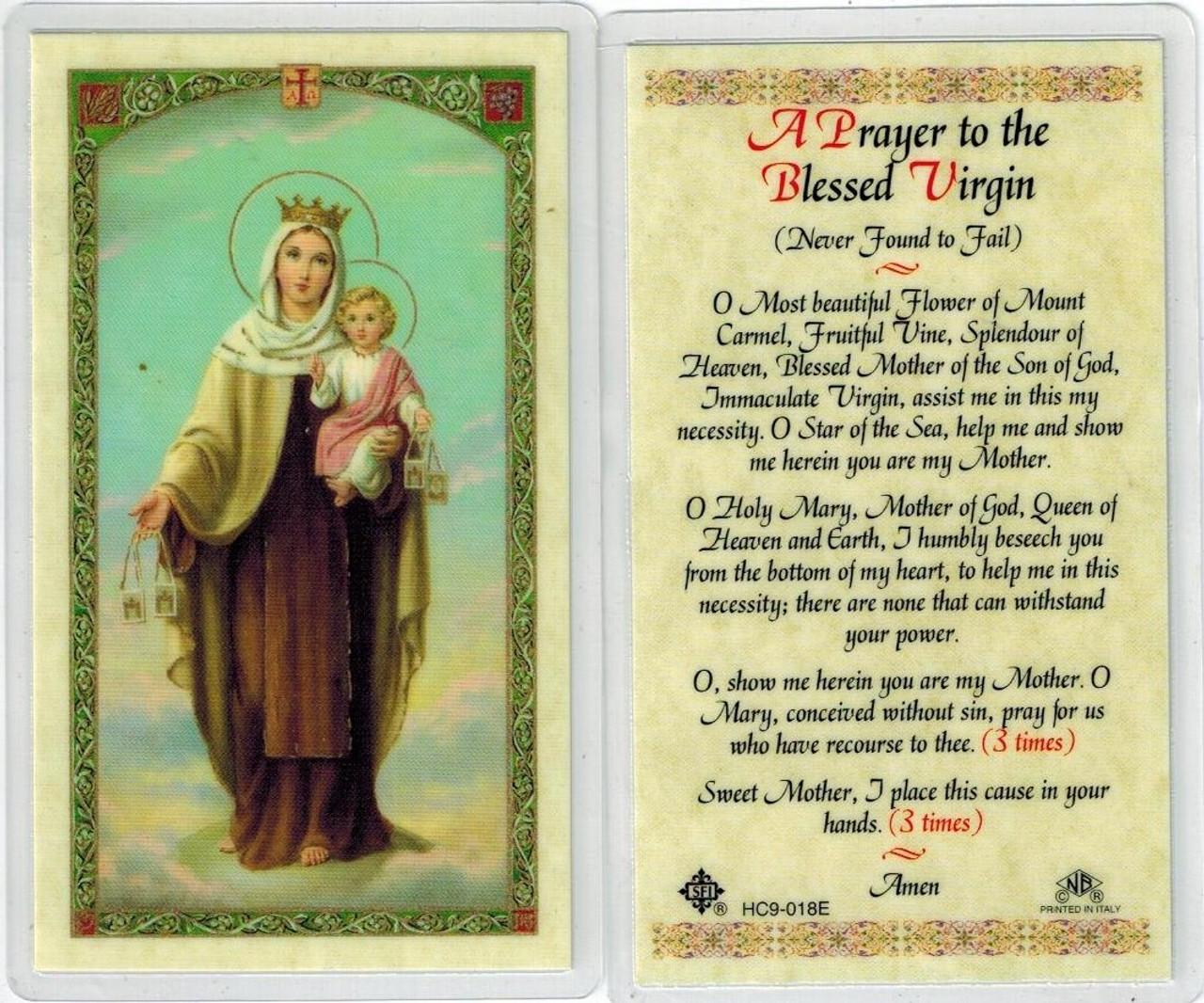 A prayer to the Blessed Virgin, laminated prayer card
