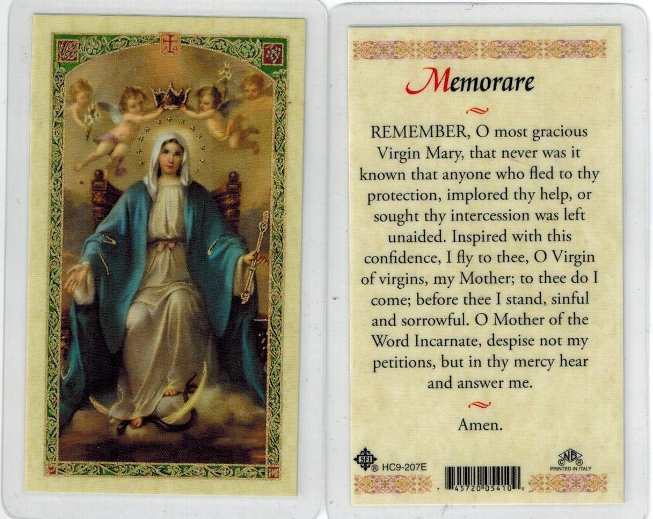 photograph regarding Memorare Prayer Printable identify Memorare, laminated prayer card