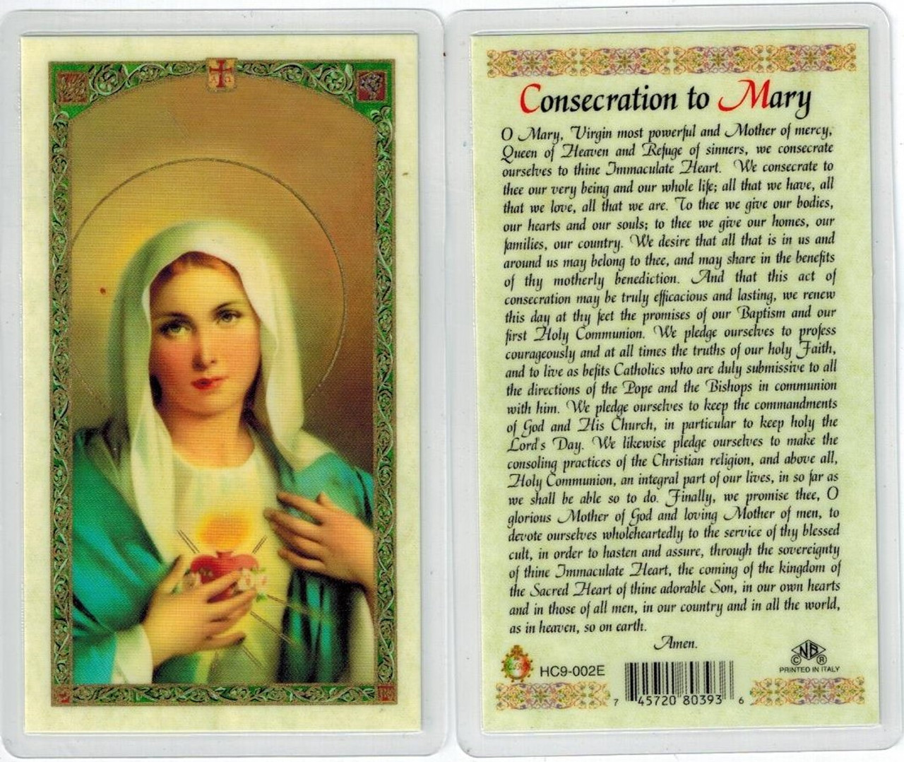 Consecration to Mary, laminated prayer card