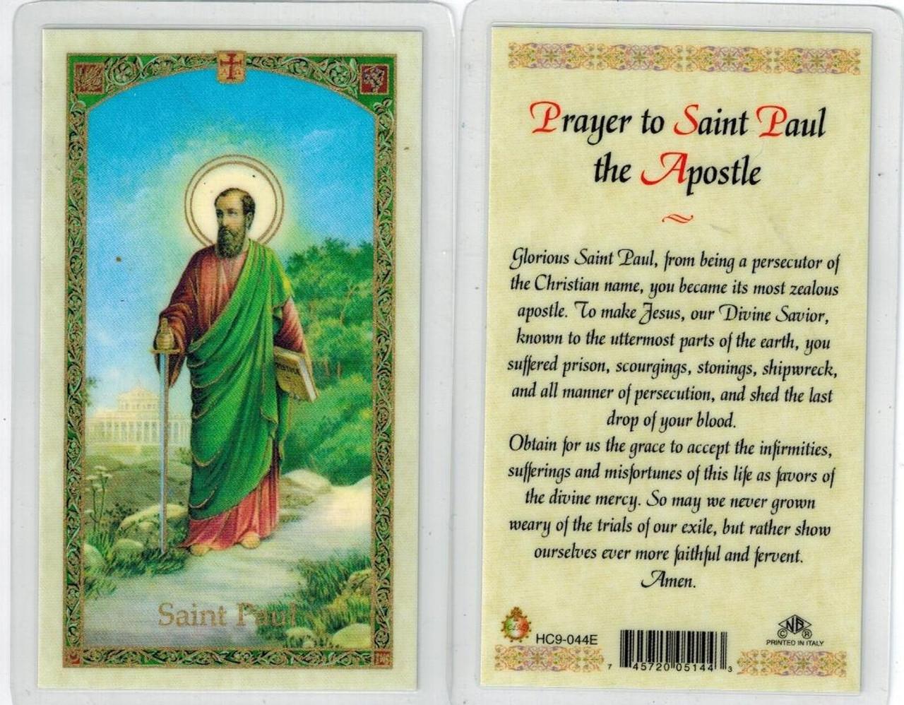 Prayer to St. Paul the Apostle, laminated prayer card