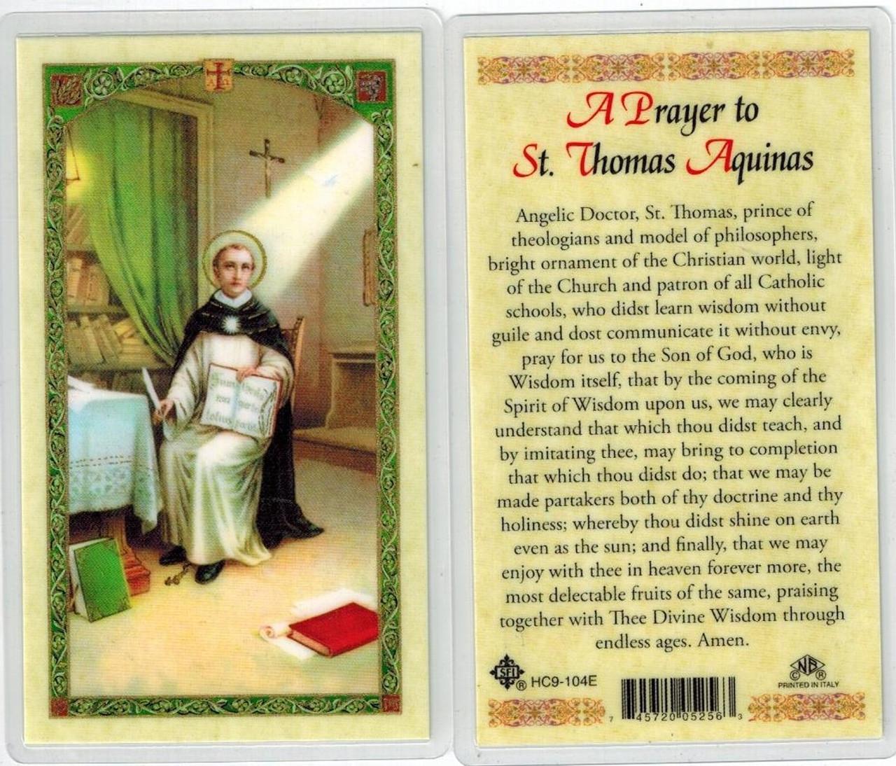 A Prayer to St. Thomas Aquinas, laminated prayer card