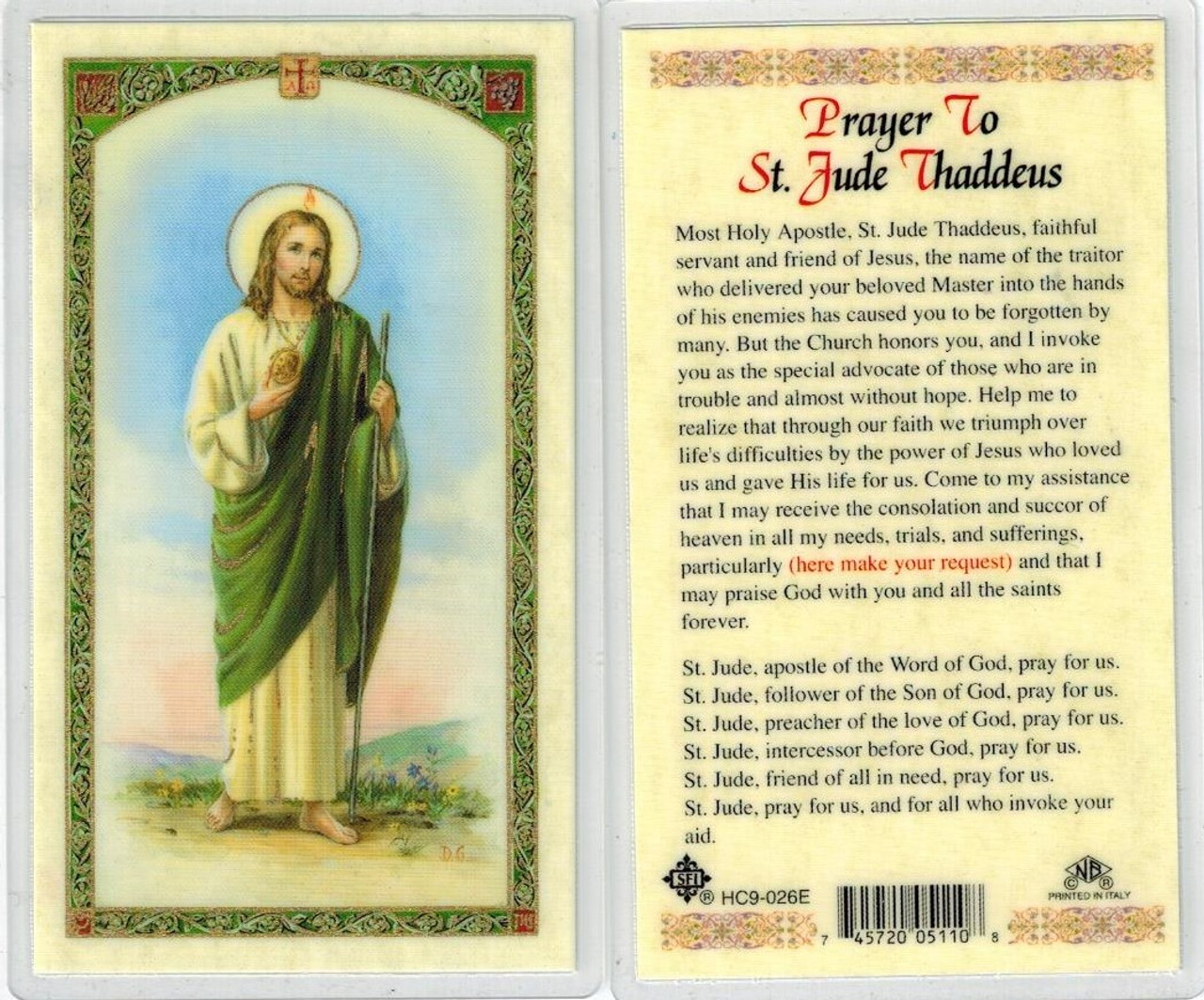 picture about Printable Prayer to St. Joseph titled Prayer in the direction of St. Jude Thaddeus, laminated prayer card