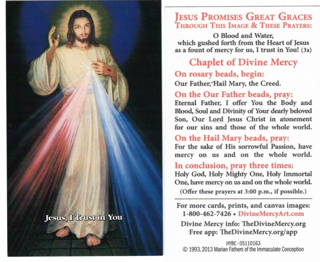 Divine Mercy Chaplet with modern Hyla Image, English blue background, inexpensive prayer card