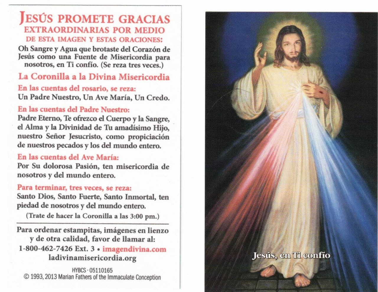 Divine Mercy Chaplet with modern Hyla Image, Spanish blue background, inexpensive prayer card