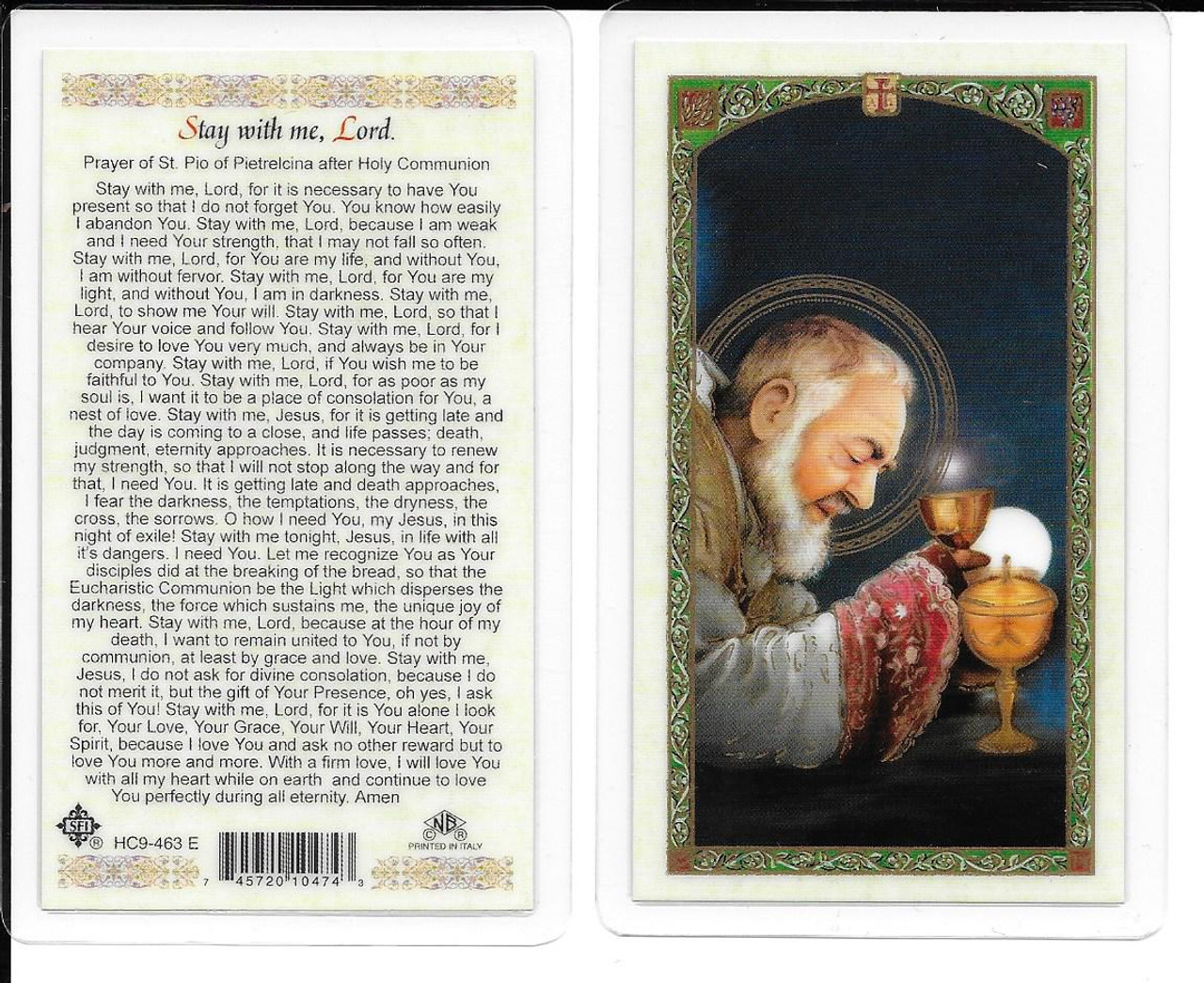 photo regarding Printable Prayer to St. Joseph named Laminated Prayer Card of St. Pio \u201cStay with me Lord \u201c.