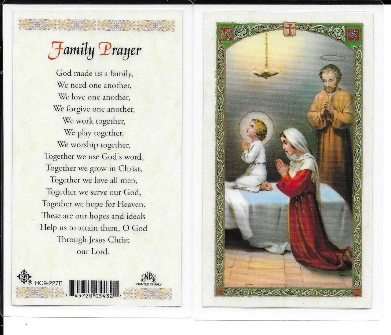 Laminated Prayer Card Family Prayer