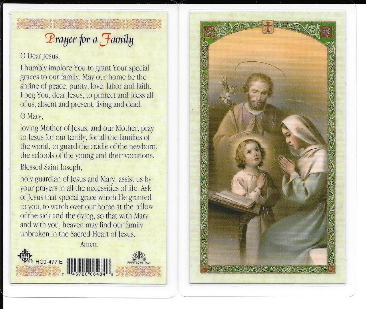 Laminated Prayer Card for a Family Prayer.