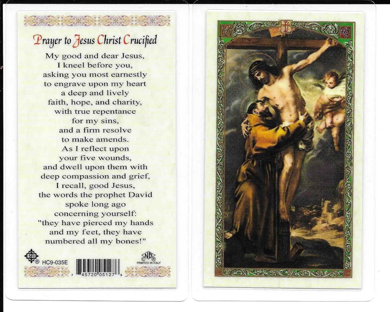 "Laminated Prayer Card ""Prayer to Jesus Christ Crucified""."