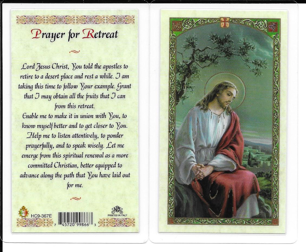 "Laminated Prayer Card ""Prayer for Retreat""."