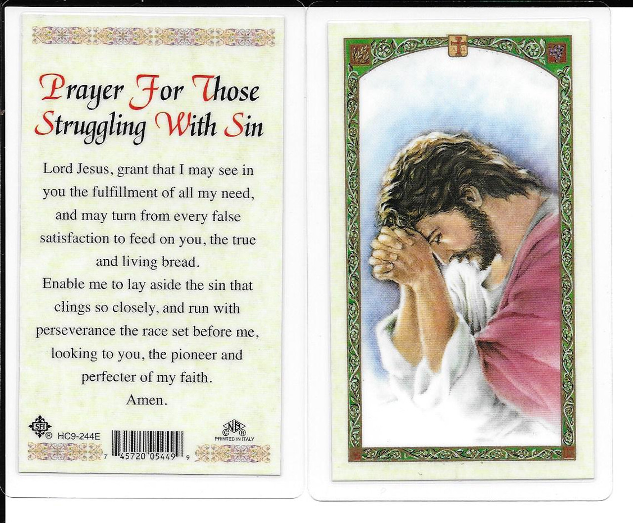 """Laminated Prayer Card """"Prayer for Those Struggling with Sin""""."""