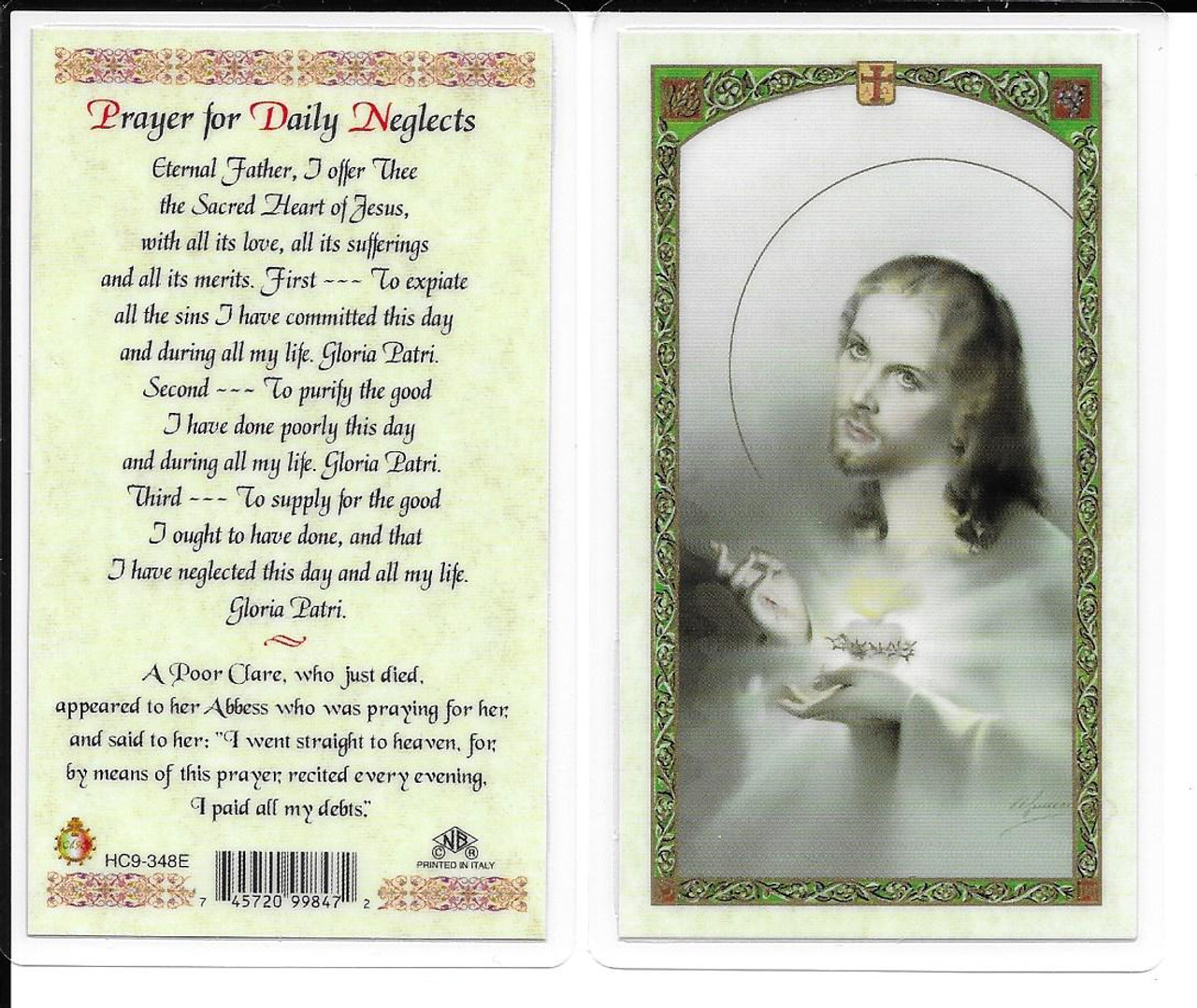 """Laminated Prayer Card """"Prayer for Daily Neglects""""."""