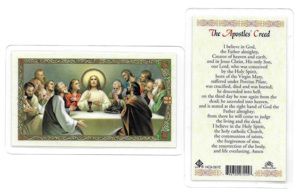 """Laminated Prayer Card """"The Apostles Creed""""."""