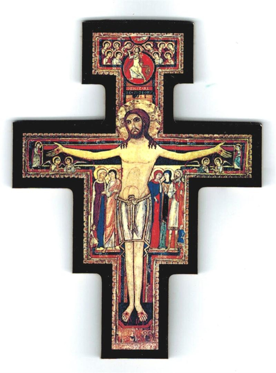 San Damiano Crucifix Magnet with Black Border