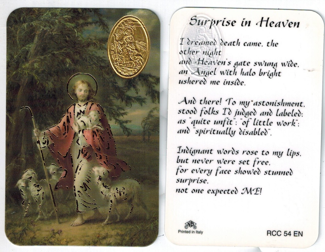 Surprise in Heaven with Jesus, Good Shepherd, Image and Medal