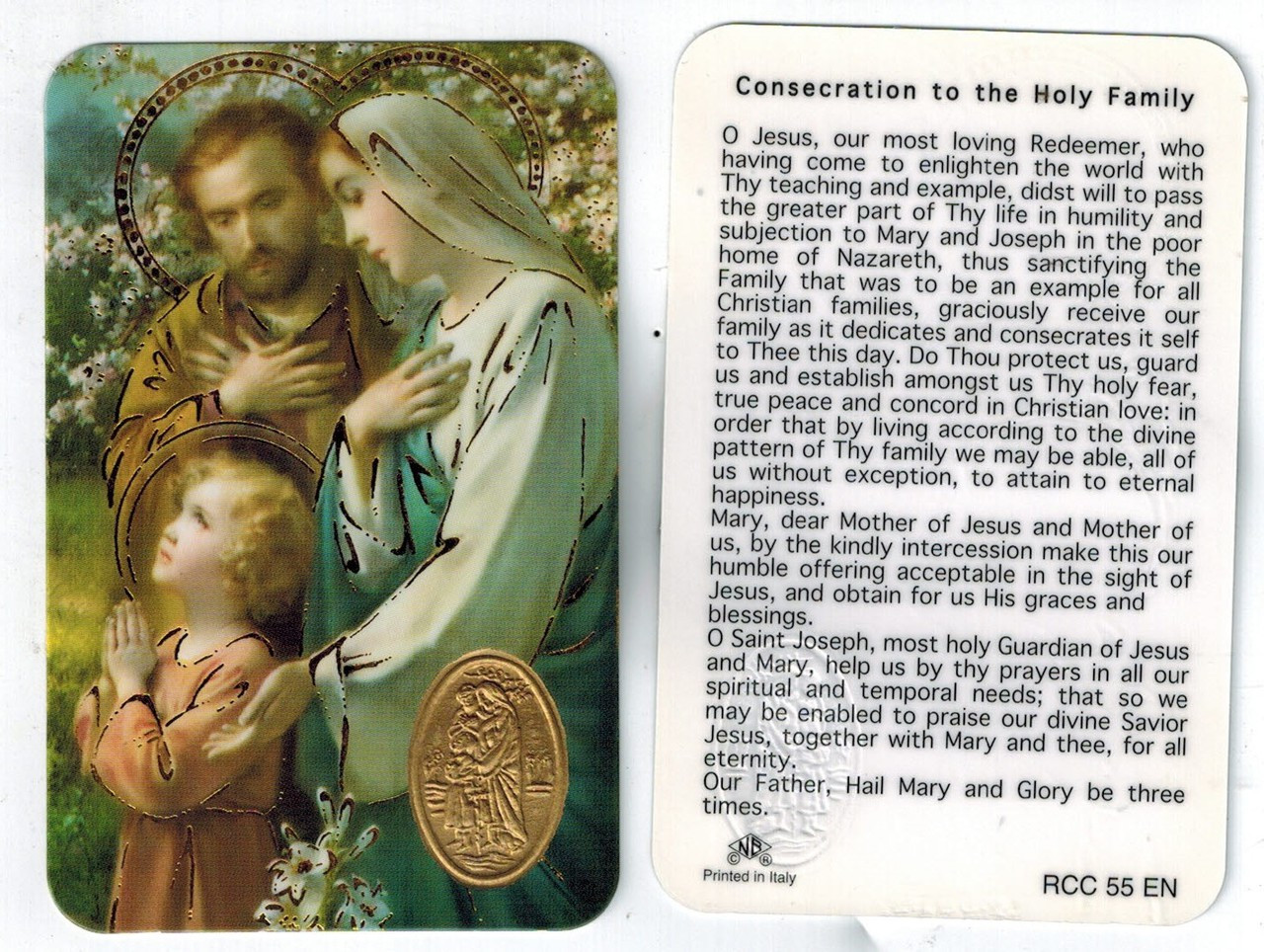 Consecration to the Holy Family Prayer Card with Medal