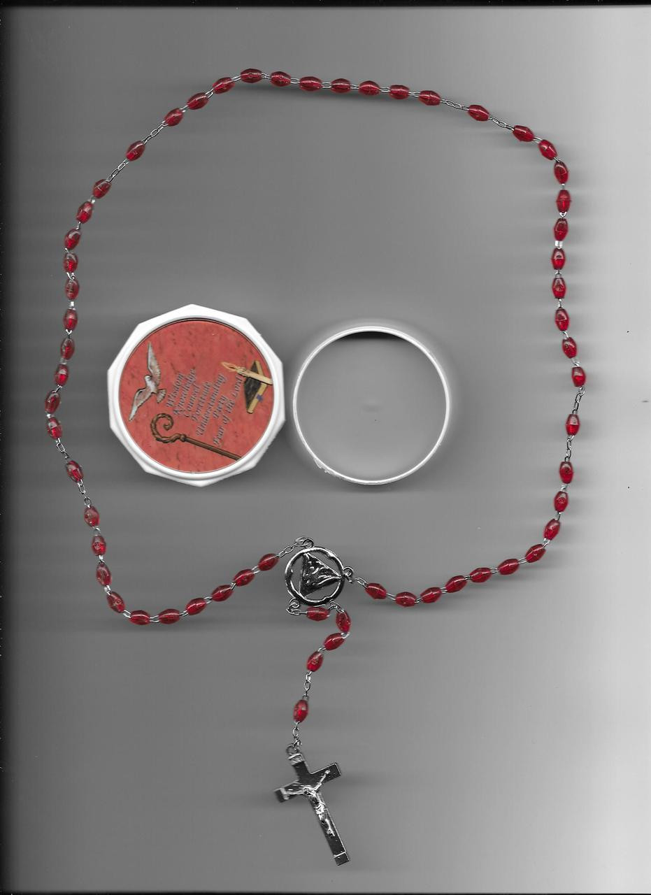Red Rosary with Rosary Box