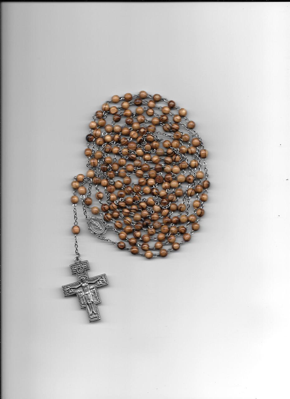 Fifteen Decade San Damiano Wooden Rosary
