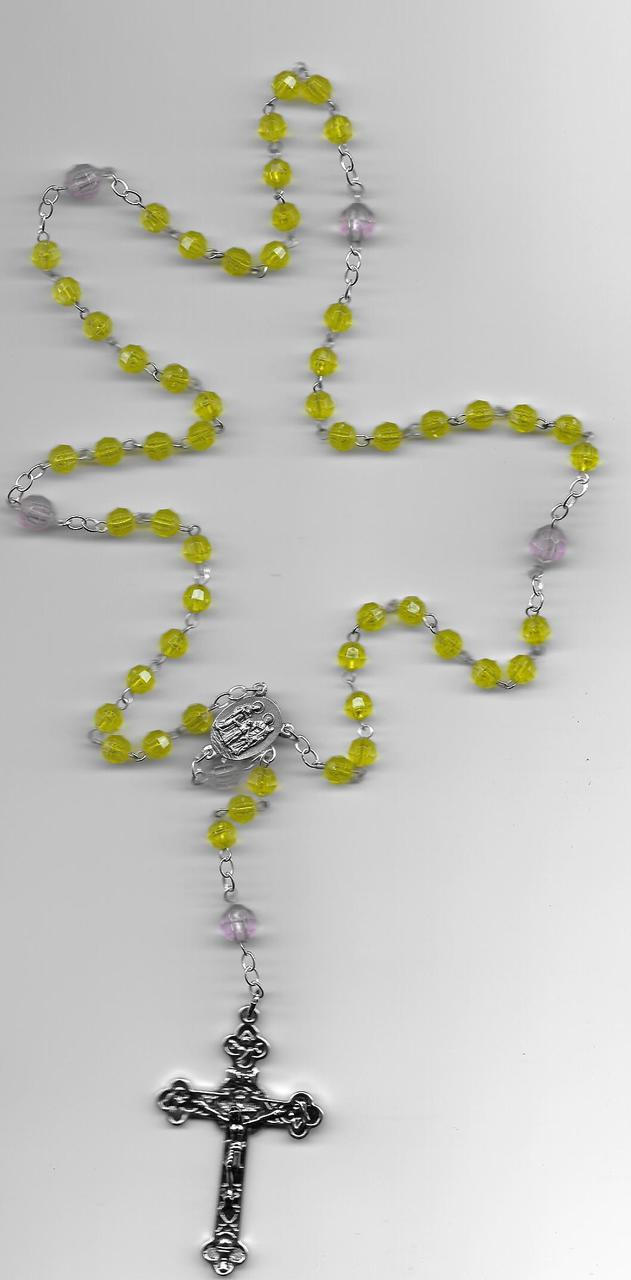 Lime Decade Beads as shown our may be a different color shone picture our choice of Rosary please.