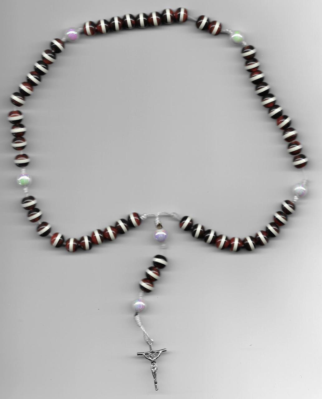 Dark Light Brown and white Round Stripe Beads Rosary