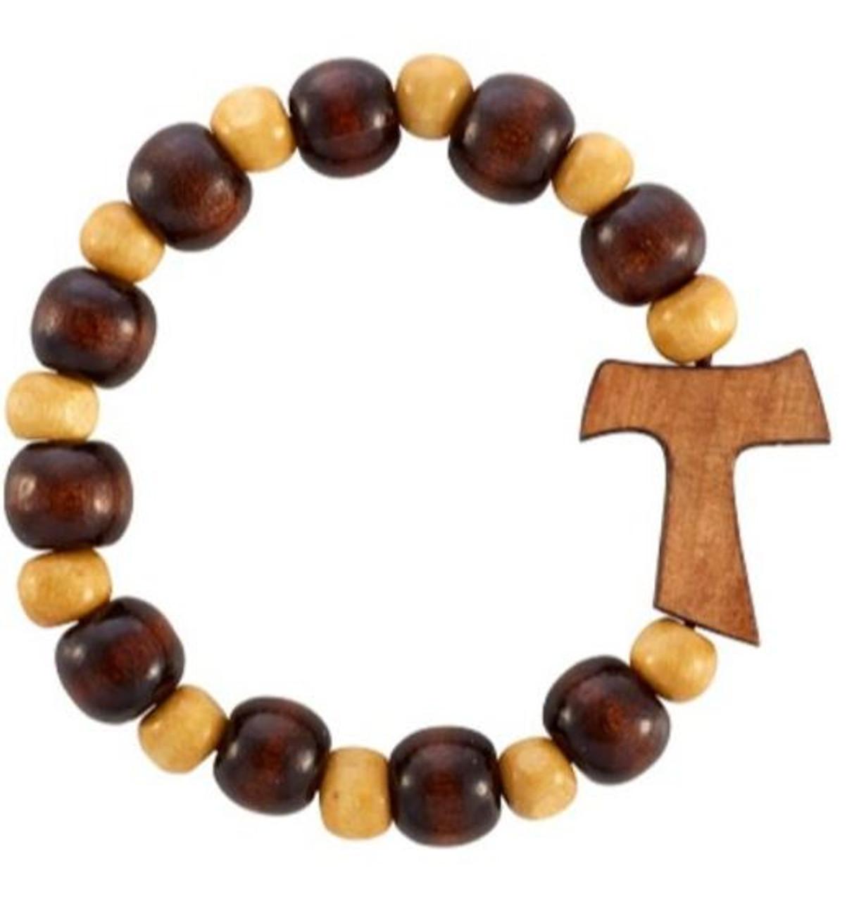 Tau Wooden Rosary Bracelet