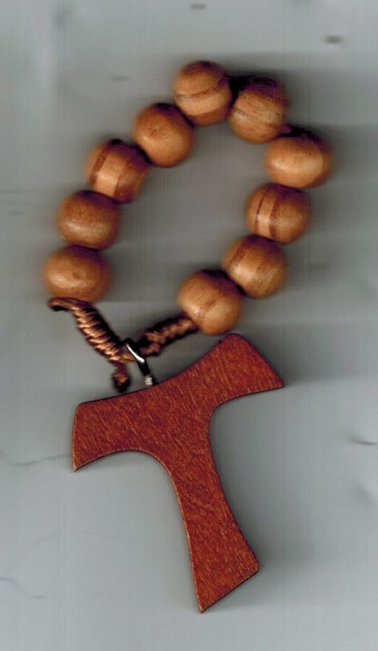 Tau Wooden Rosary Ring