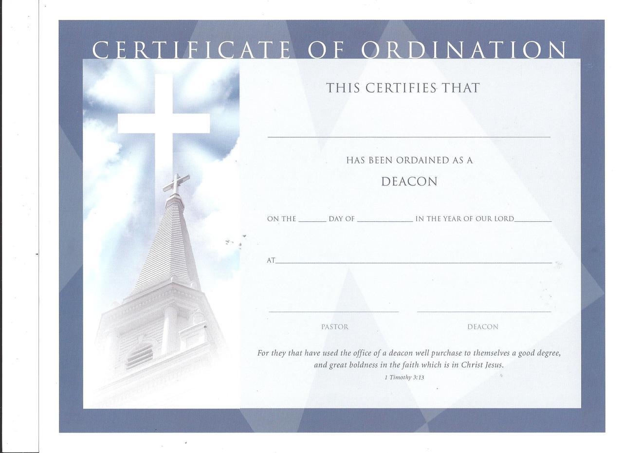 Certificate Of Ordination Deacon