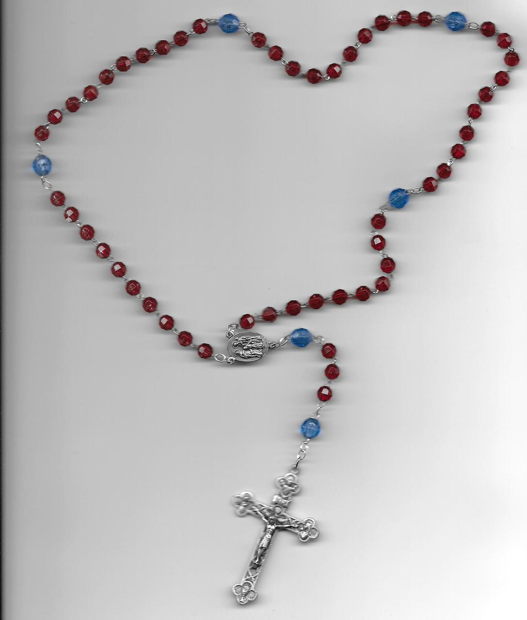 Red Decade, Blue Our Father Crystal Bead Chain Link Rosary