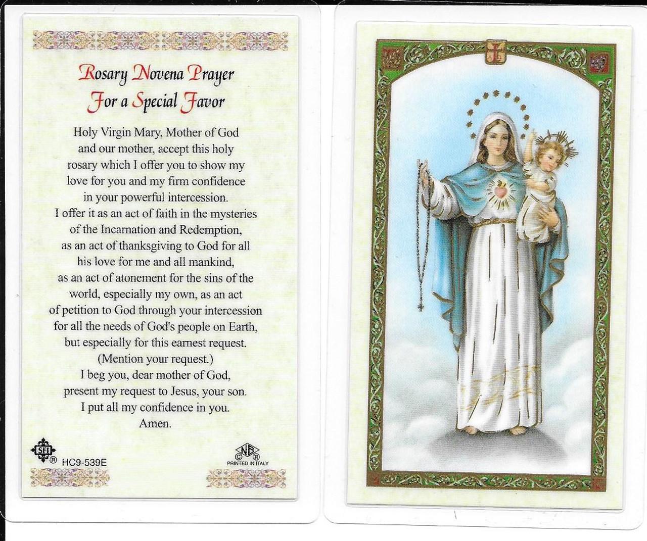 """Laminated Prayer Card """"Novena Prayer for a Special Favor"""""""