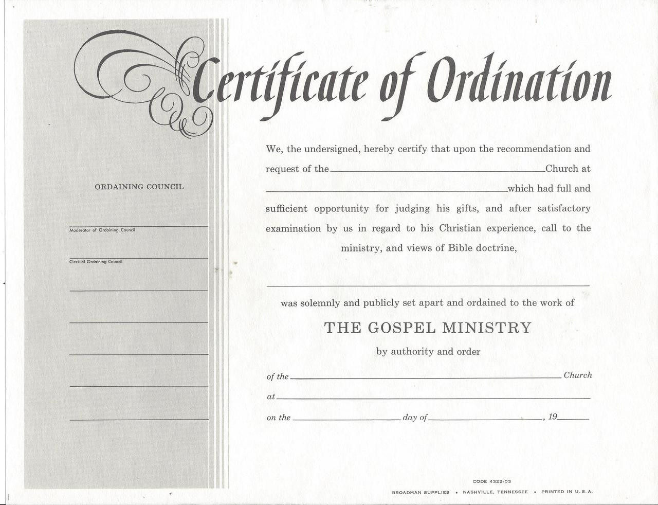 Certificate Of Ordiantion Deacon