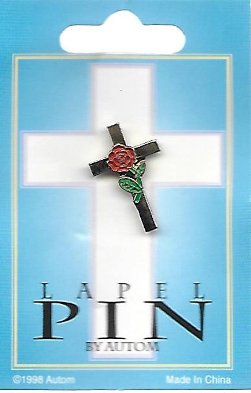 Rose and Cross Lapel Pin