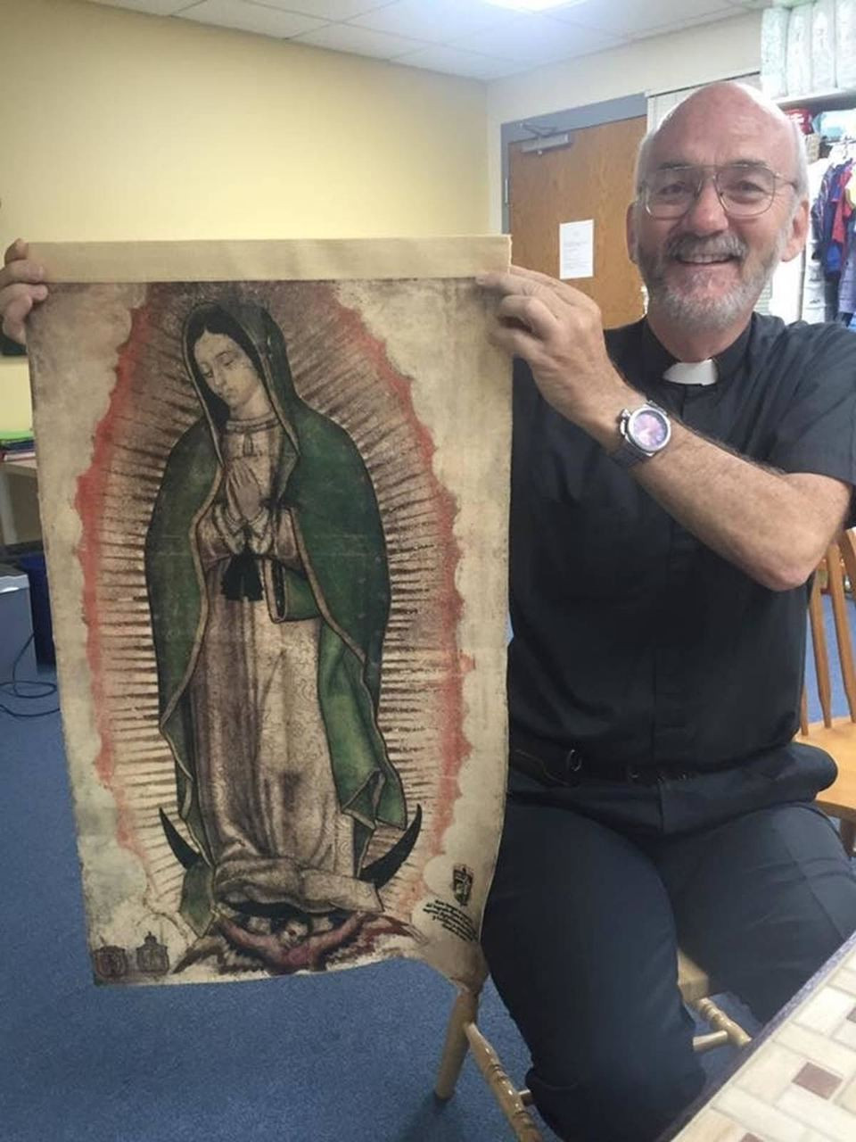 Father Ryan from Togo. Africa. He is constructing a Shrine of Our Lady of Guadalupe there . This Medium size, exact reproduction of the tilma of Juan Diego, will be for the main altar.