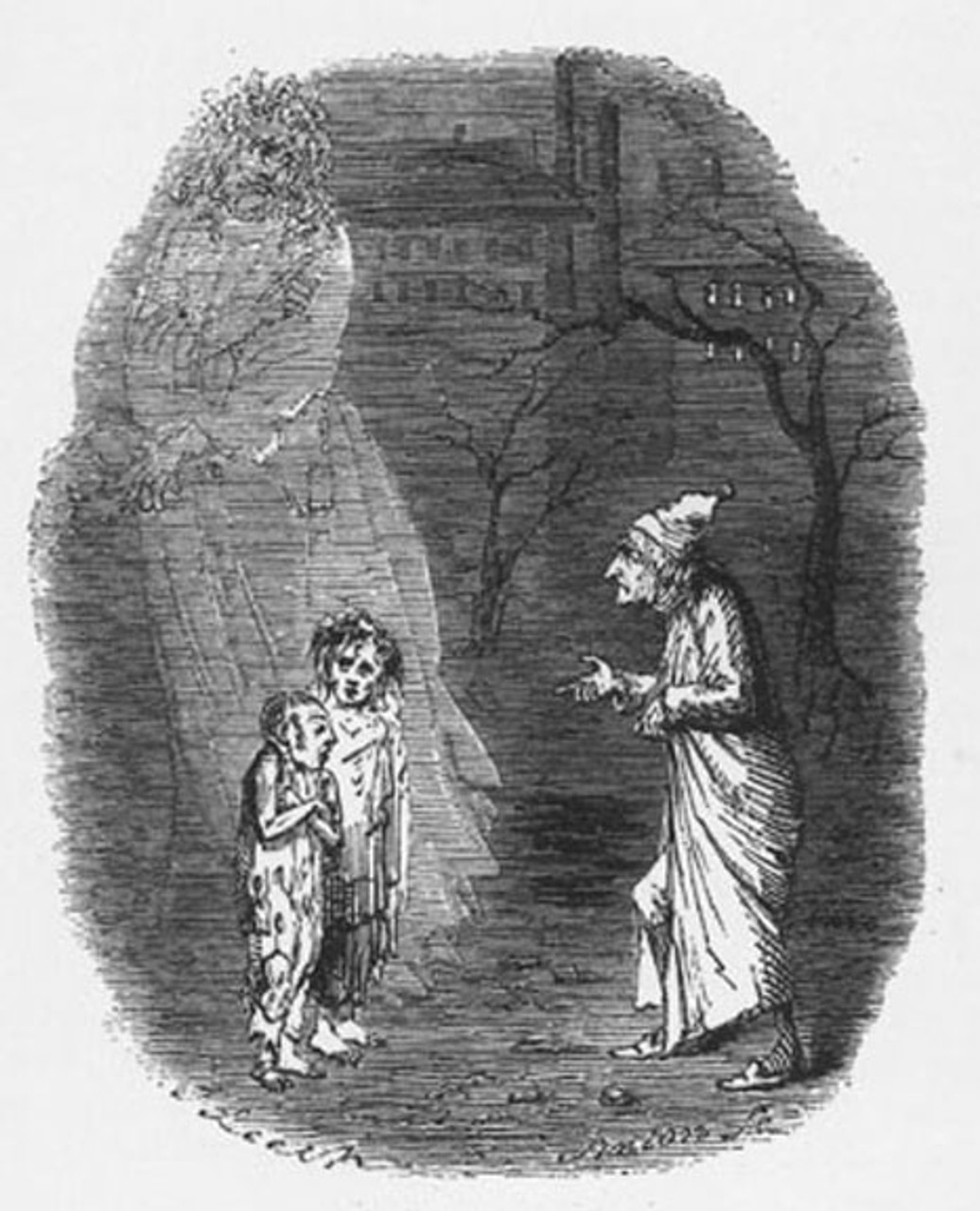 Scrooge and the children, original illustration from A Christmas Carol by Charles Dickens