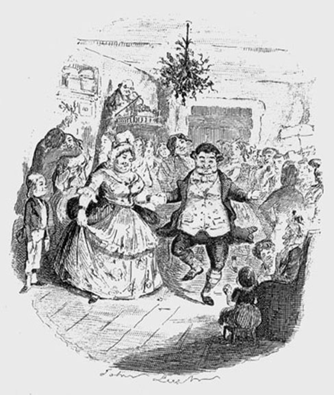 Mr. Fezziwig's ball, an original illustration from A Christmas Carol by Charles Dickens