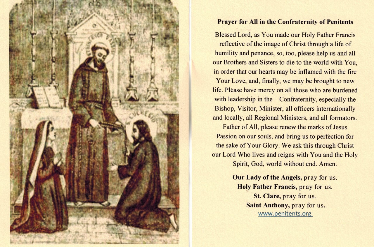 Confraternity of Penitents prayer card