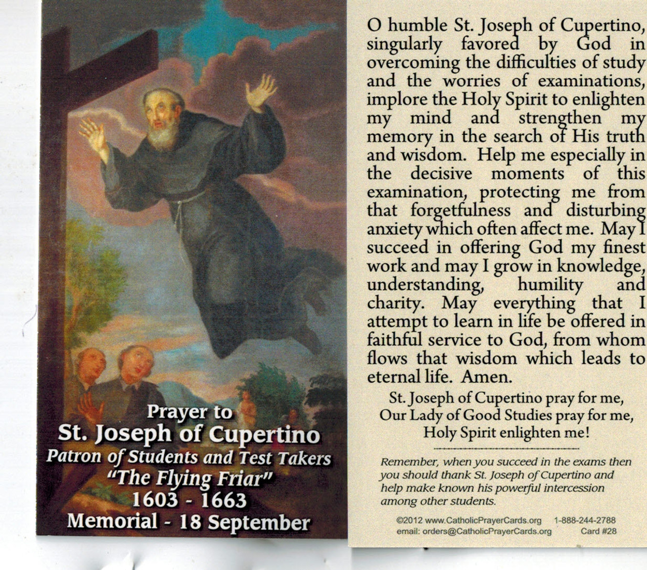 Prayer to St. Joseph of Cupertino for Success in Examinations Prayer Card