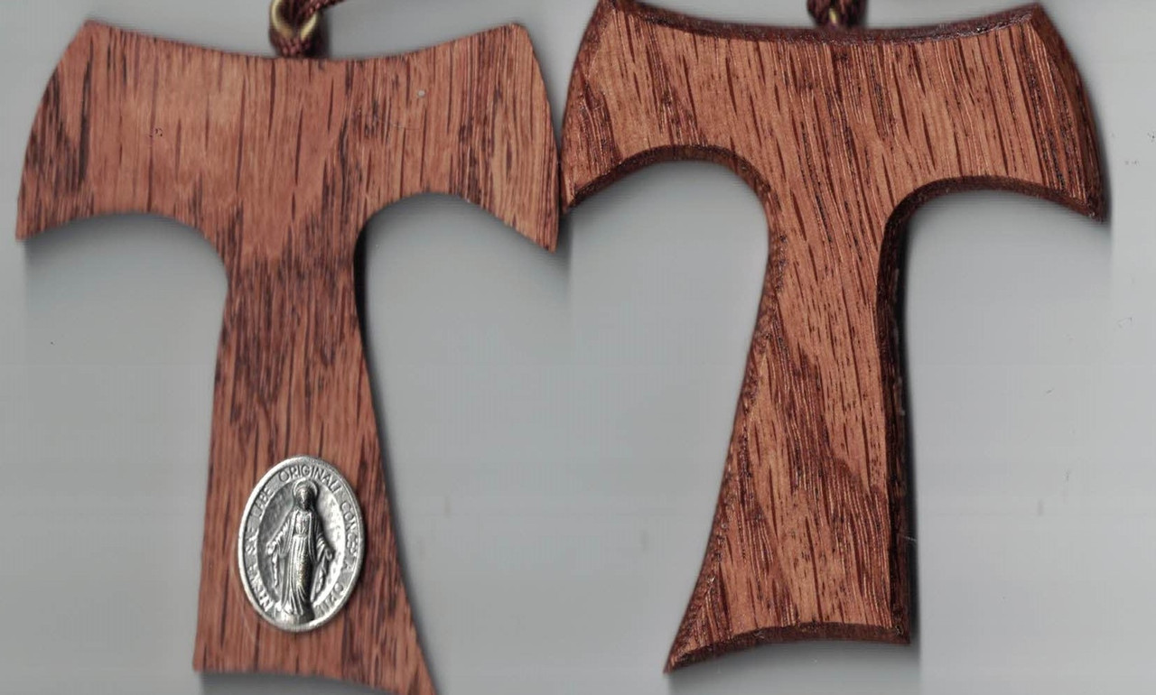 3 inch Hand Crafted Wooden Franciscan Tau Cross Pendant with Miraculous Medal on Cord