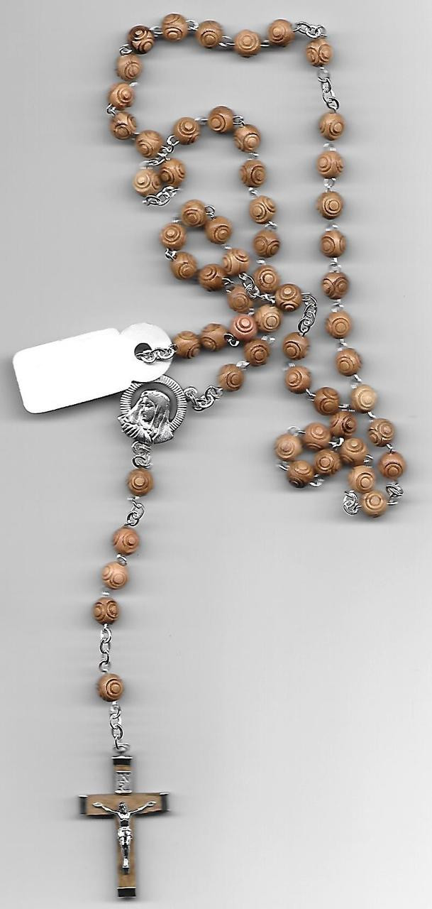 Peanut Colored Carved Rosebud Rosary
