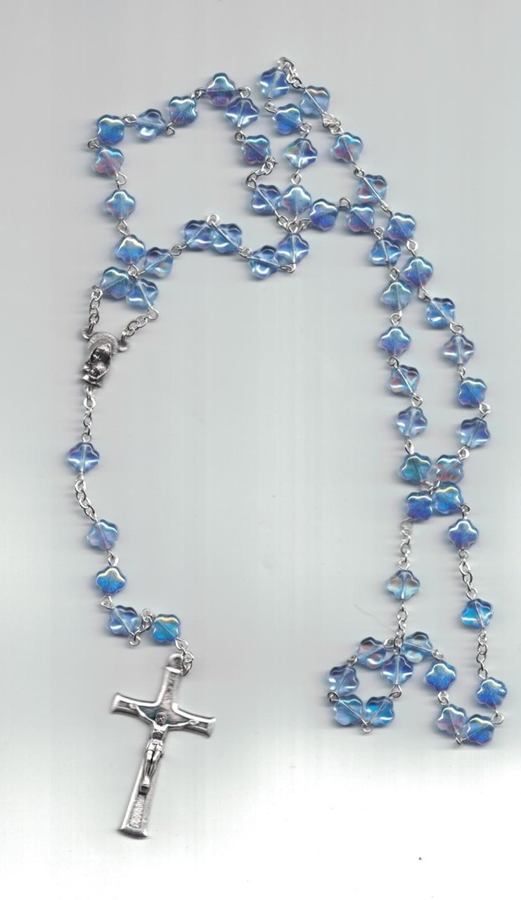 Sapphire crystal bead blue rosary from Spain