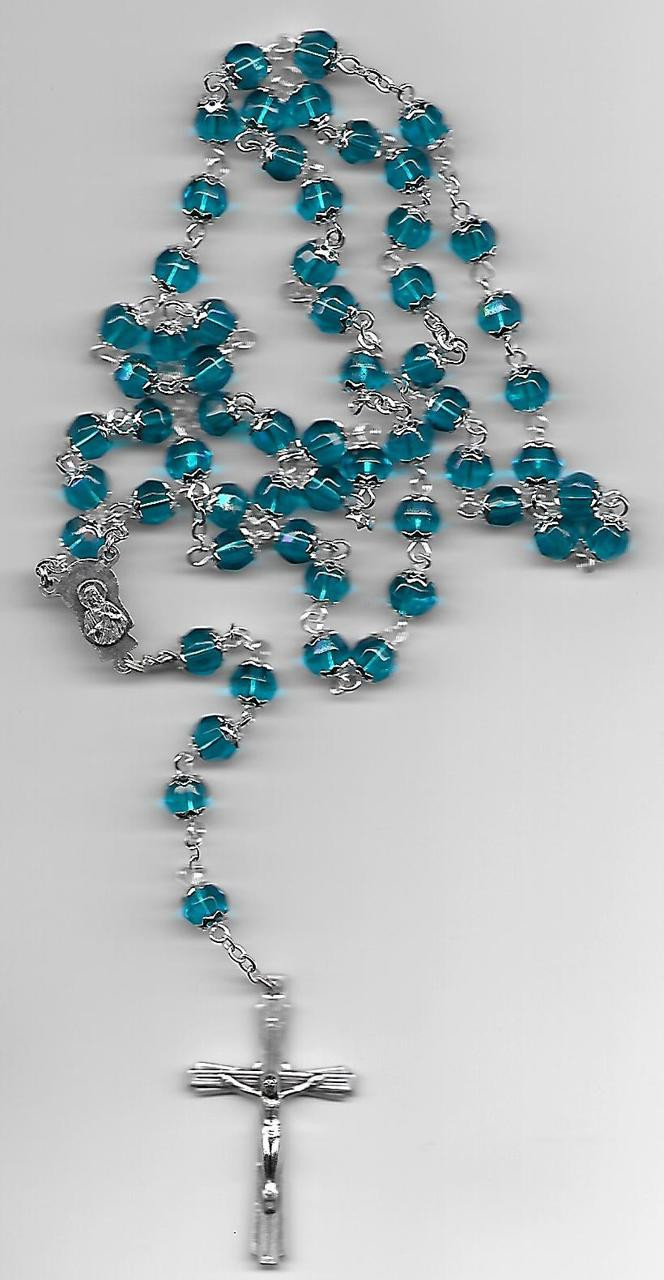 Water Blue Crystal Rosary