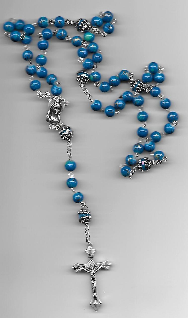 Blue Swirl Rosary
