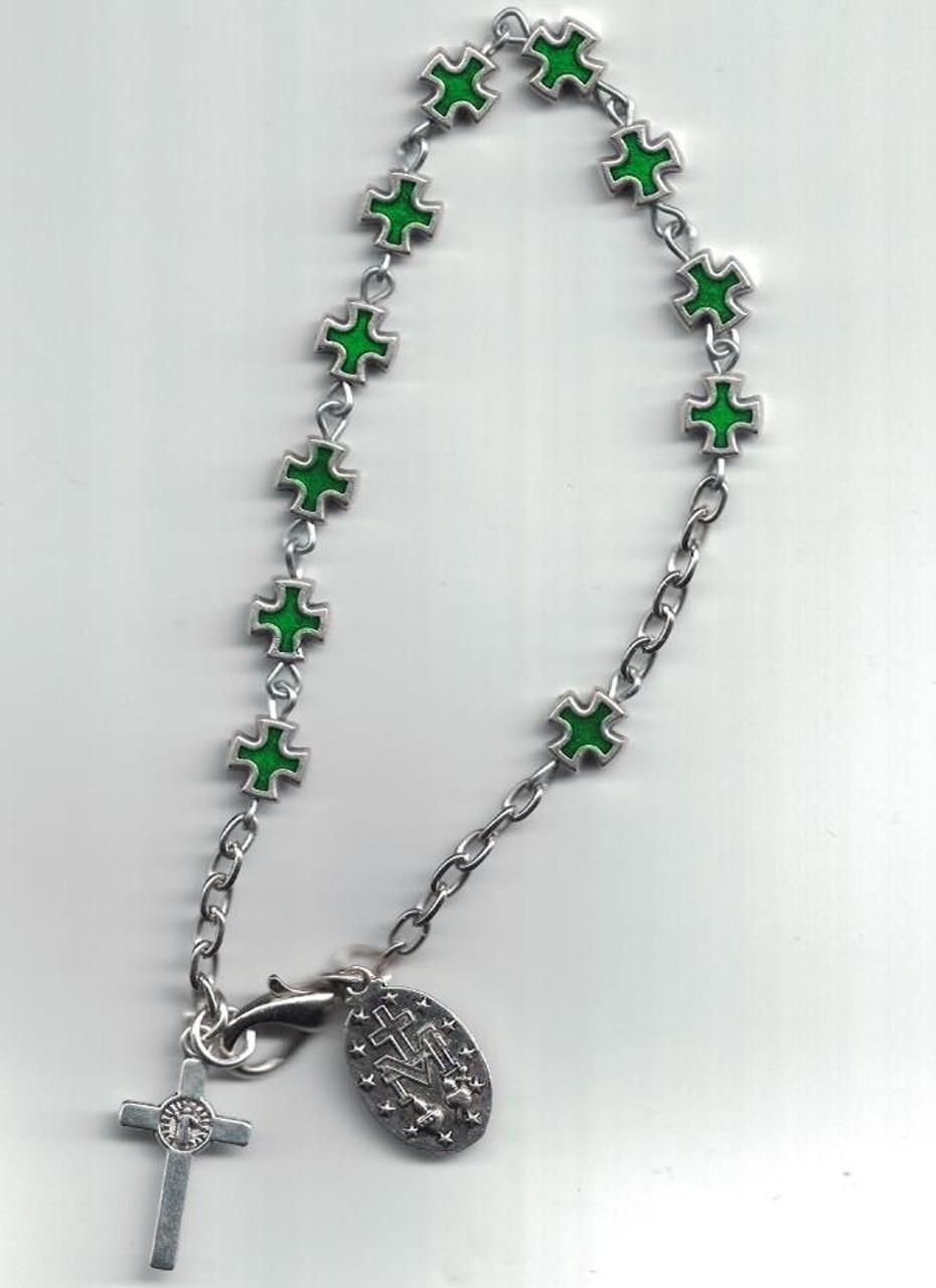 Green Cross-Faceted Rosary Bracelet