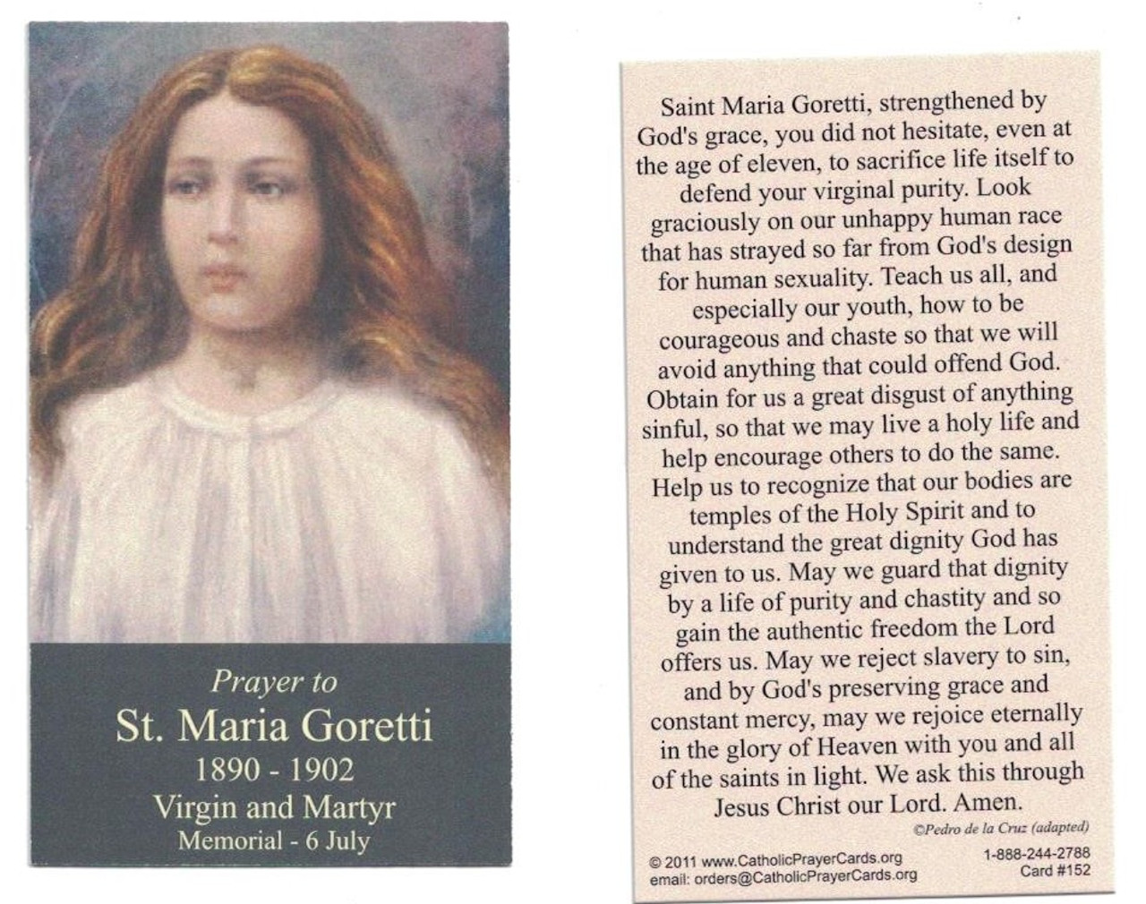 ST MARIA GORETTI PRAYER CARD SET CATHOLIC SAINT PATRON SAINT OF YOUTH YOUNG WOMEN