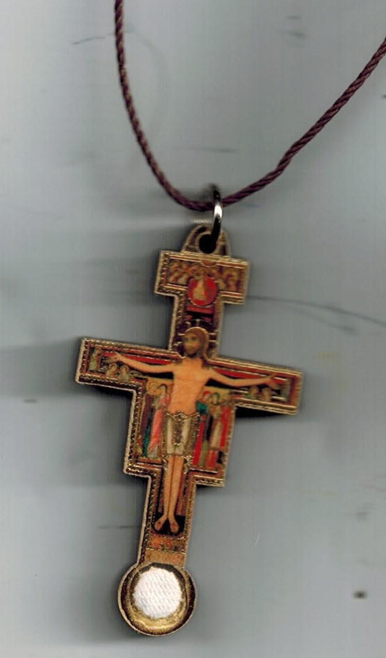 San Damiano Third Class Relic Crucifix with cord