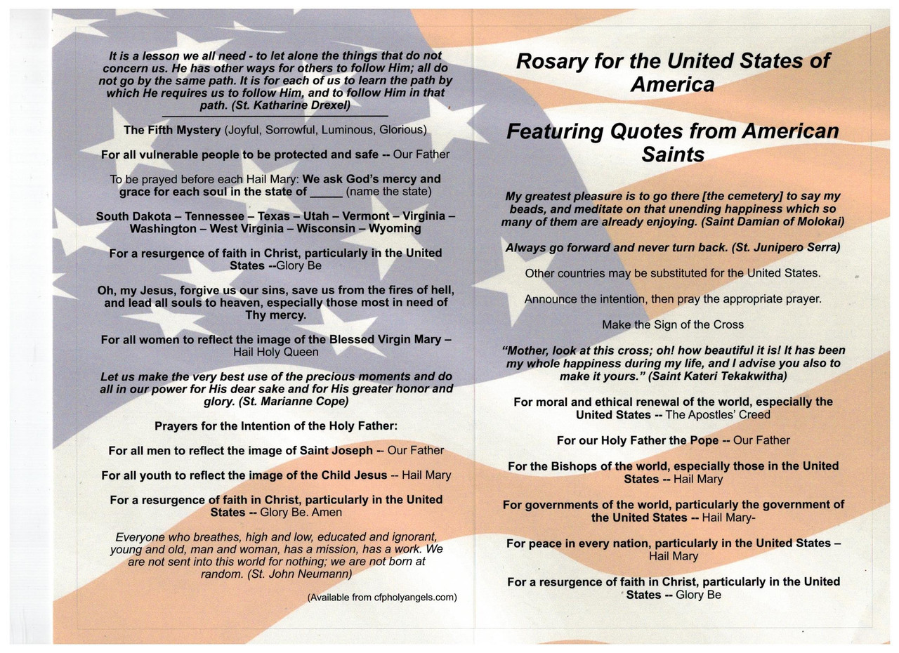 Patriotic Rosary for the United States of America Featuring Quotes from American Saints