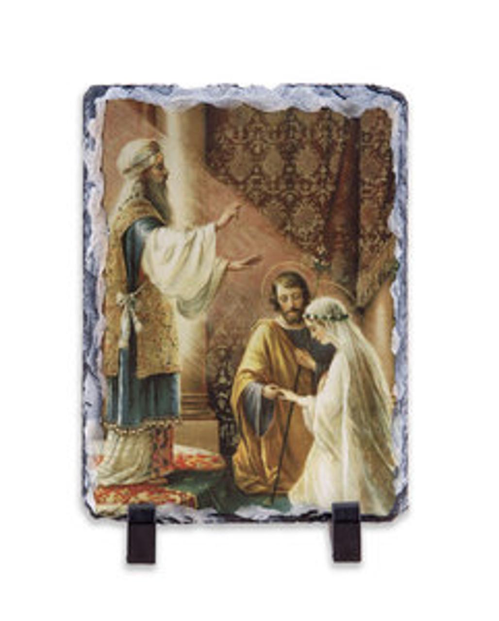Wedding of Joseph and Mary Vertical Slate Tile