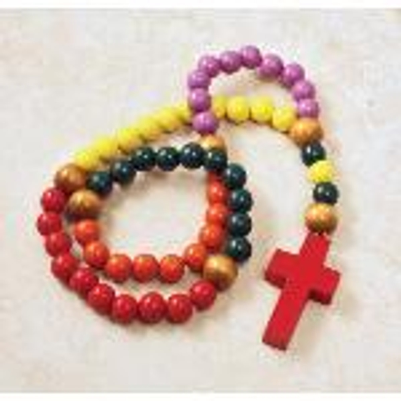 Children's Colorful Wooden Bead Rosary
